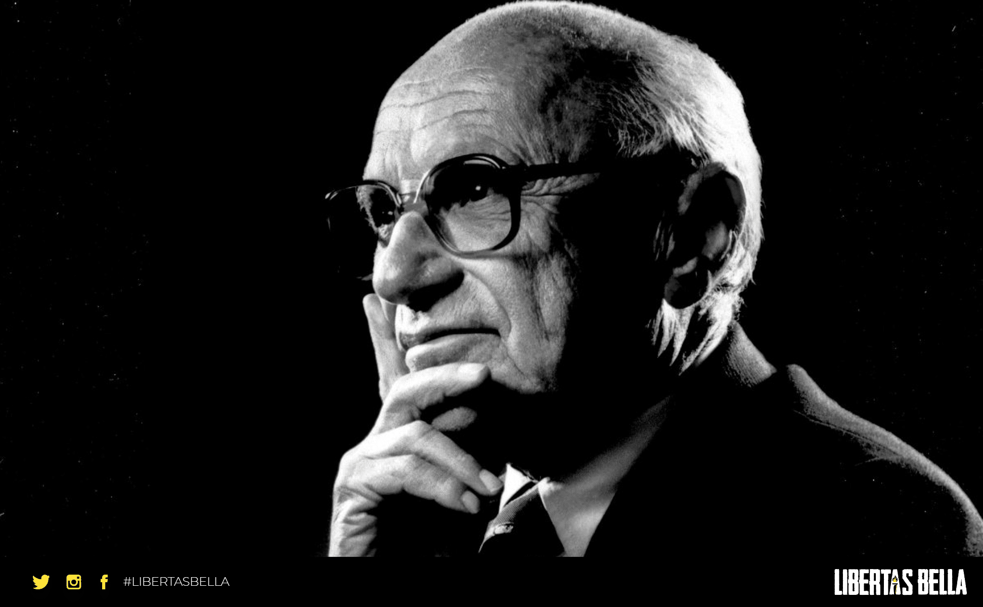 Milton Friedman quotes - black and white version of Milton Friedman