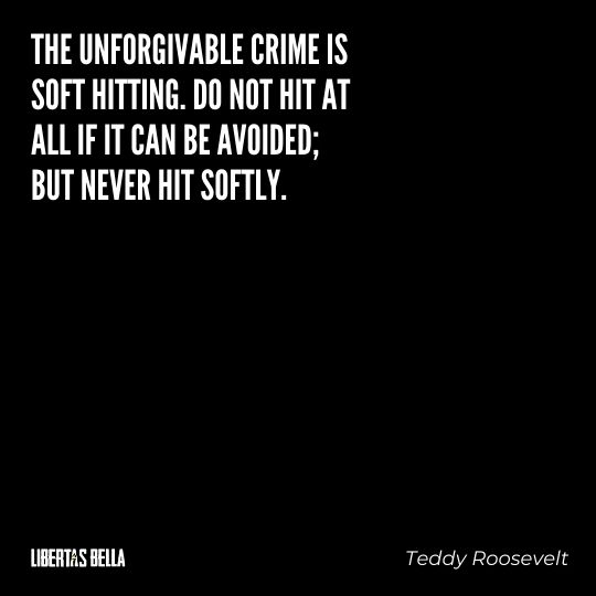 """Teddy Roosevelt Quotes - """"The unforgivable crime is soft hitting. Do not hit at all if it can be avoided; be never hit softly."""""""