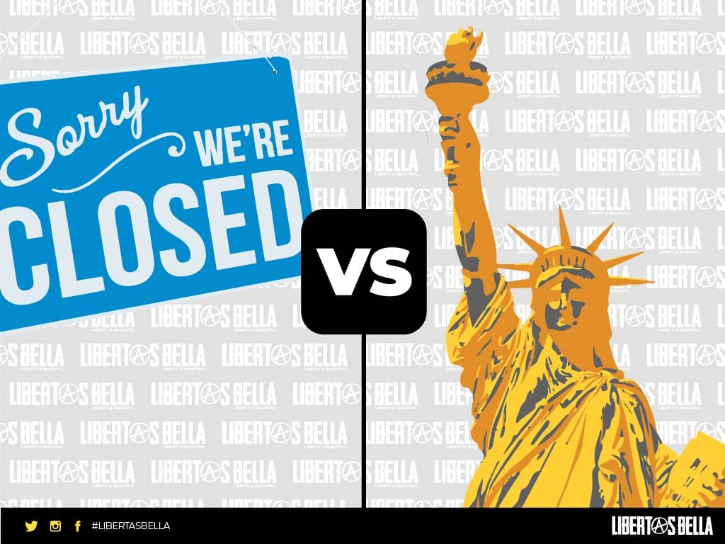 closed sign versus the statue of liberty | The science of COVID-19 - liberty versus shutdowns