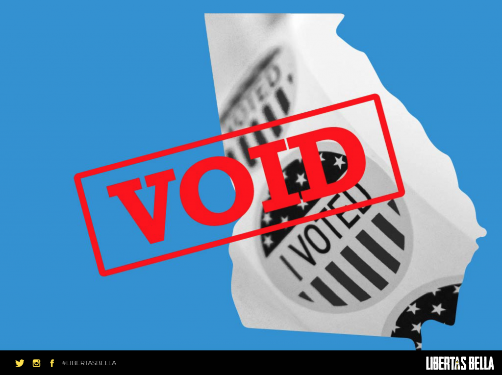 """Georgia Election Fraud - outline of the state of Georgia with the stamp """"VOID"""" overlayed"""
