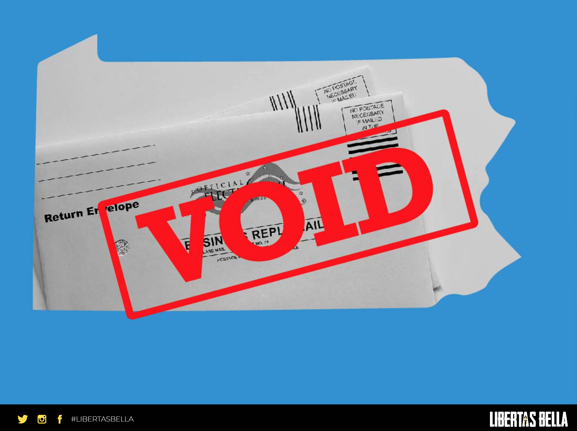 """2020 Pennsylvania Election Fraud - outline of the state of Pennsylvania with the stamp """"VOID"""" overlayed"""