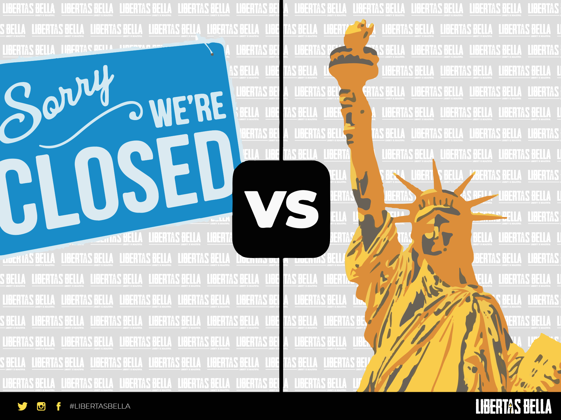 COVID-19 | closed sign vs the statue of liberty