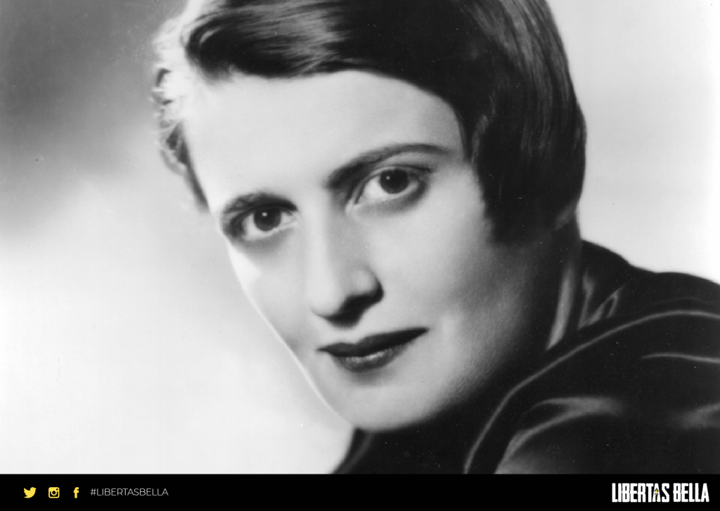 Ayn Rand Quotes - black and white version of Ayn Rand looking at the camera