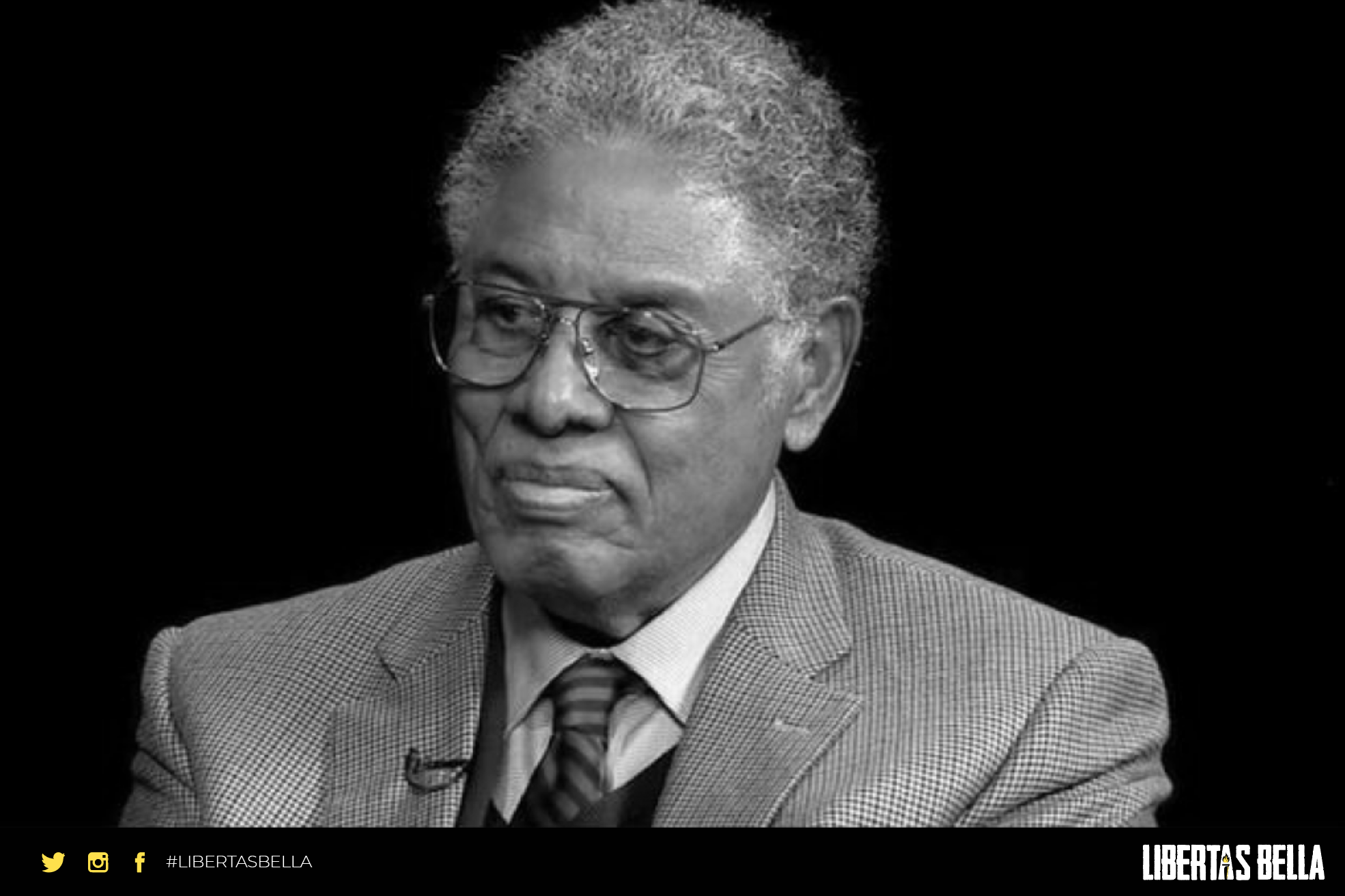 Thomas Sowell Quotes - grayscale thomas sowell in a blaser