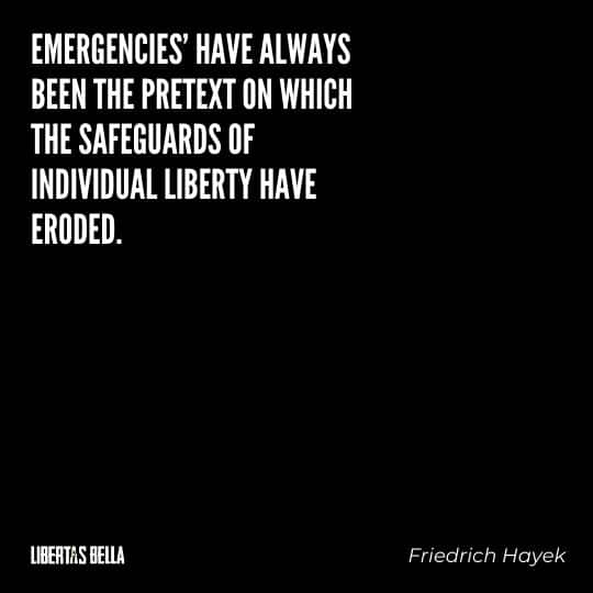 "Friedrich Hayek quotes - ""Emergencies' have always been the pretext on which the safeguards of individual liberty have eroded"""