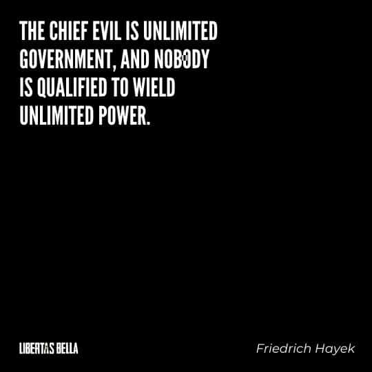 "Friedrich Hayek quotes - ""the chief evil is unlimited government, and nobody is qualified to wield unlimited power."""