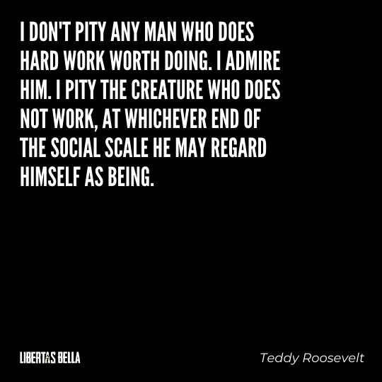 """Teddy Roosevelt Quotes - """"I don't pity any man who does hard work worth doing. I admire him. I pity the creature who does not work..."""""""