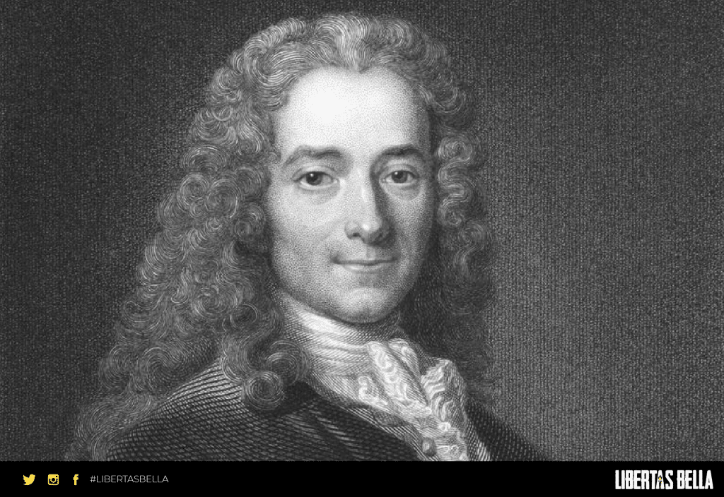 Voltaire quotes - black and white version of Voltaire smiling slightly