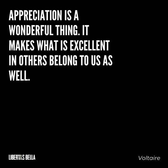 """Voltair Quotes - """"Appreciation is a wonderful thing. It makes what is excellent in others belong to us as well."""""""
