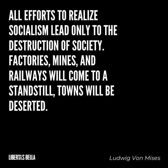 """Ludwig Von Mises Quotes - """"All efforts to realize Socialism lead only to the destruction of society. Factories..."""""""