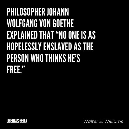 """Walter E. Williams Quotes - """"Philosopher Johann Wolfgang von Goethe explained that """"no one is as..."""""""