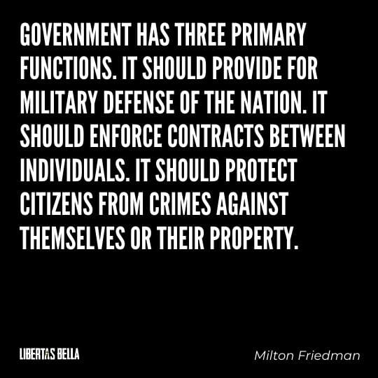 """Milton Friedman Quotes - """"Government has three primary functions. It should provide for military defense of the nation..."""""""