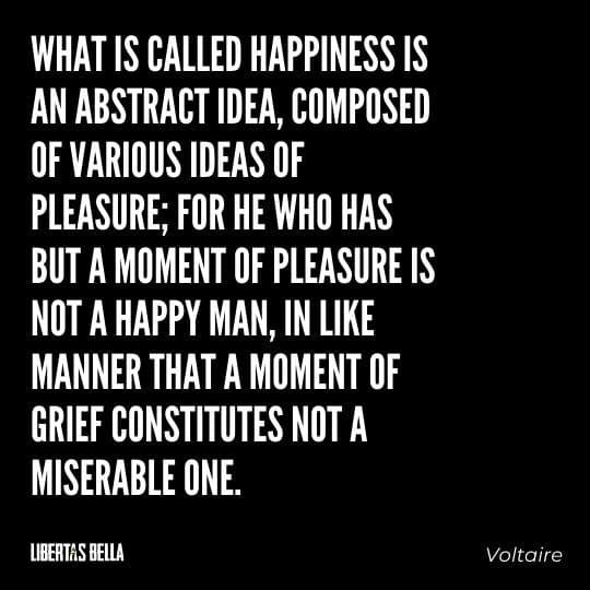 """Voltaire Quotes - """"What is called happiness is an abstract idea, composed of various ideas of pleasure..."""""""