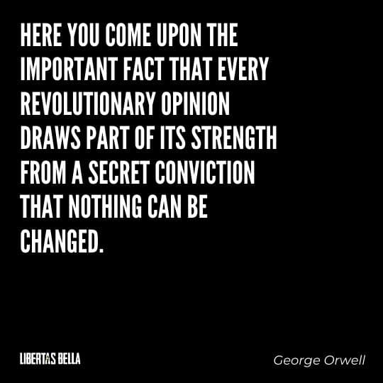 """1984 Quotes - """"Here you come upon the important fact that every revolutionary opinion draws part of its strength..."""""""