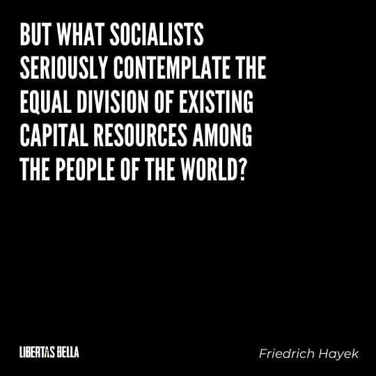 """Hayek Quotes - """"But what socialists seriously contemplate the equal division of existing capital resources among the people of the world?"""""""