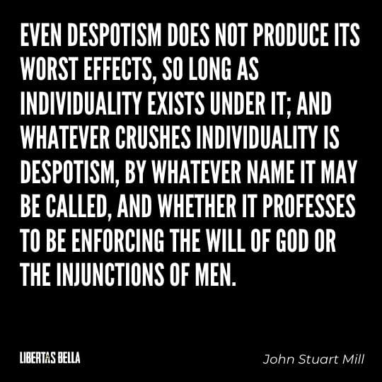 """Liberty Quotes - """"Even despotism does not produce its worst effects, so long as individuality exists under it..."""""""