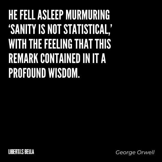 """1984 Quotes - """"He fell asleep murmuring 'Sanity is not statistical,' with the feeling that this remark..."""""""