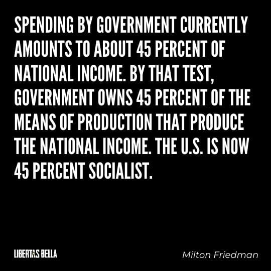 """Milton Friedman Quotes - """"Spending by government currently amounts to about 45 percent of national income..."""""""