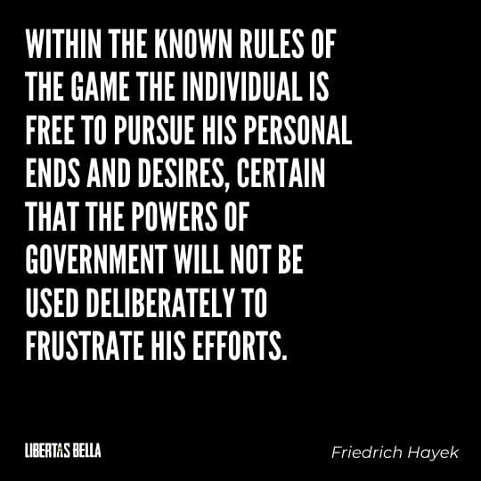 """Hayek Quotes - """"Within the known rules of the game the individual is free to pursue his personal ends and desires..."""""""