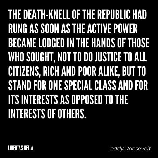 """Teddy Roosevelt Quotes - """"The death-knell of the republic had rung as soon as the active power became lodged in the hands..."""""""