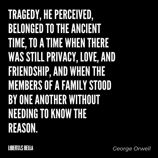 """1984 Quotes - """"Tragedy, he perceived, belonged to the ancient time, to a time when there was still privacy..."""""""