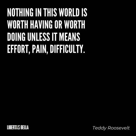 """Teddy Roosevelt Quotes - """"Nothing in this world is worth having or worth doing unless it means effort, pain, difficulty."""""""
