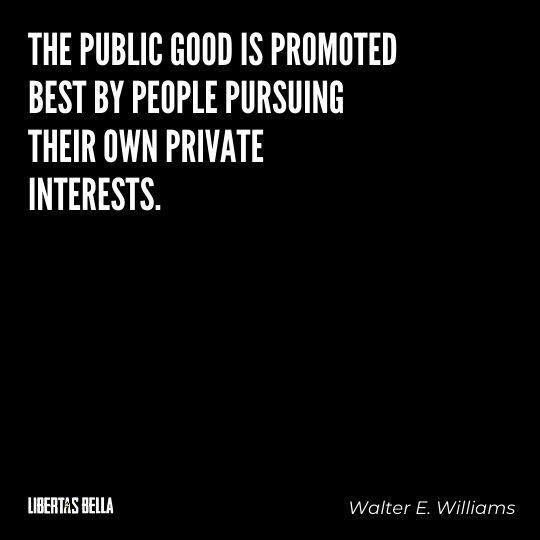 """Walter E. Williams Quotes - """"The public good is promoted best by people pursuing their own private interests."""""""
