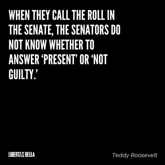 """Teddy Roosevelt Quotes - """"When they call the roll in the Senate, the Senators do not know whether to answer 'Present' or 'Not guilty.'"""""""