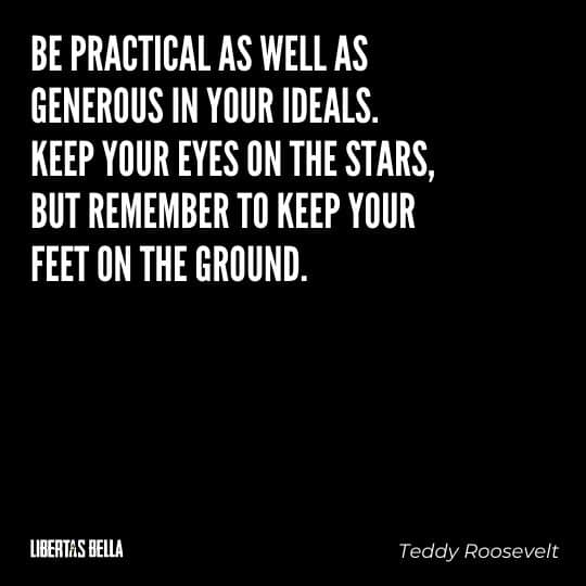"""Teddy Roosevelt Quotes - """"Be practical as well as generous in your ideals. Keep your eyes on the stars, but remember..."""""""