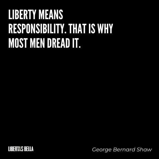 """Liberty Quotes - """"Liberty means responsibility. That is why most men dread it."""""""