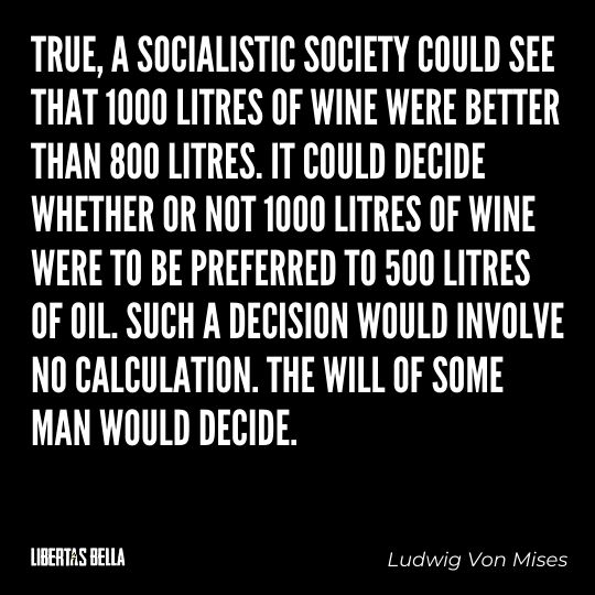 """Ludwig Von Mises Quotes - """"True, a socialistic society could see that 1000 litres of wine were better than 800 litres..."""""""