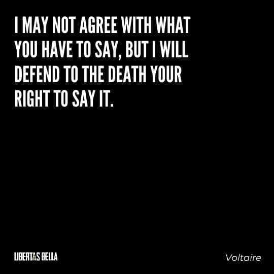 """Voltaire Quotes - """"I may not agree with what you have to say, but I will defend to the death your right to say it."""""""