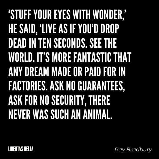 """Fahrenheit 451 Quotes - """"'Stuff your eyes with wonder,' he said 'live as if you'd drop dead in ten seconds..."""""""