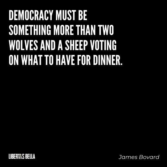 """democracy quotes - """"Democracy must be something more than two wolves and a sheep voting on what to have for dinner."""""""