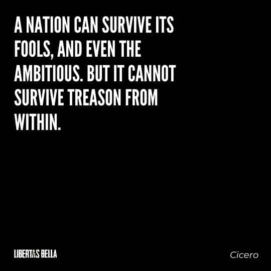 """Tyranny quotes - """"A nation can survive its fools, and even the ambitious. But it cannot survive treason from within."""""""
