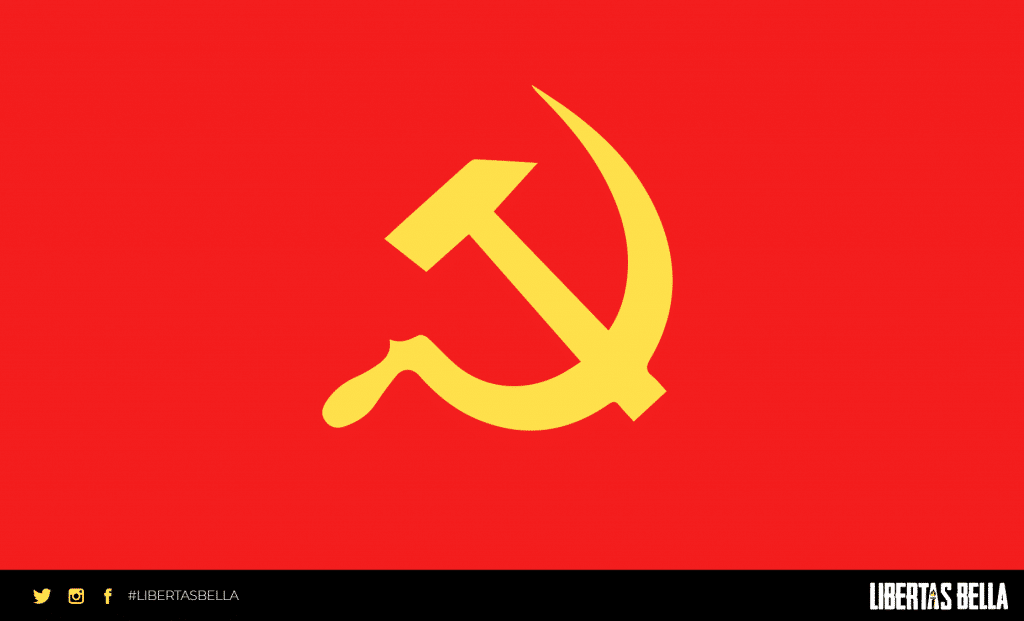 Socialism quotes - red flag with a yellow hammer and sickle.