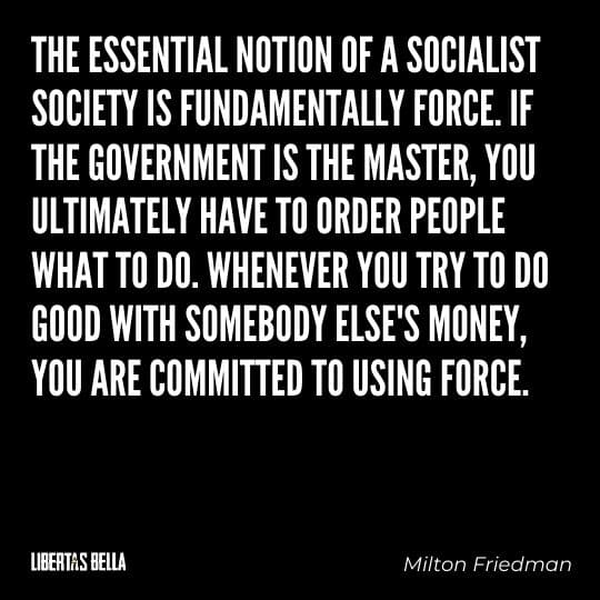 """Socialism quotes - """"The essential notion of socialist society is fundamentally force. If the government is the master..."""""""