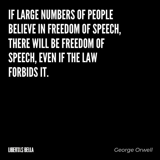 """Freedom of speech quotes - """"If large numbers of people believe in freedom of speech, there will be freedom of speech, even if the lay forbids it."""""""