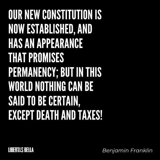 """Benjamin Franklin quotes - """"Out new constitution is now established, and has an appearance that promises permanency..."""""""