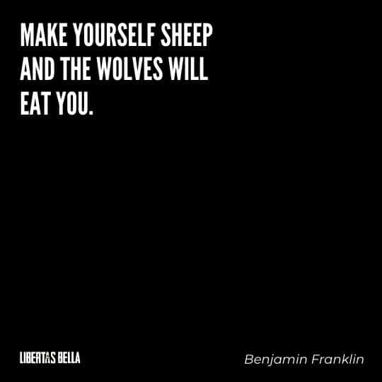 """Benjamin Franklin quotes - """"Make yourself sheep and the wolves will eat you..."""""""
